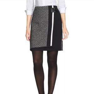 NWT $98 WHBM tweed faux wrap skirt Sz 8